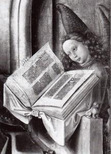 Barthélemy  d'Eyck, attr., Sacra famiglia al caminip dett2
