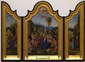 Maestro olandese sconosciuto 1520-30 Trittico sacra famiglia con s. Caterina e Barbara